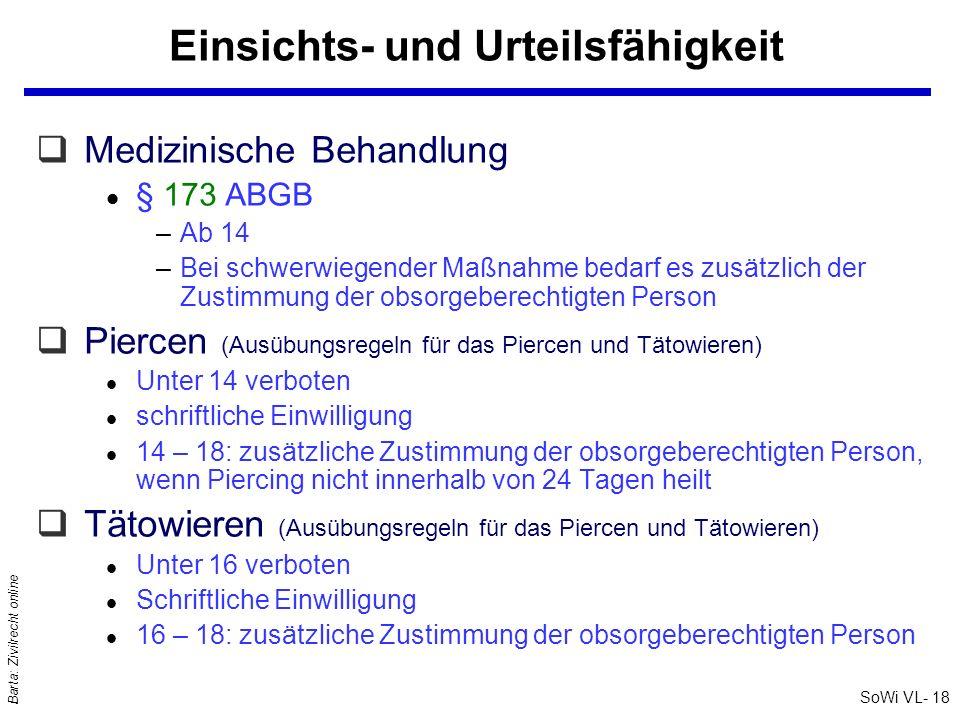SoWi VL- 18 Barta: Zivilrecht online Einsichts- und Urteilsfähigkeit qMedizinische Behandlung l § 173 ABGB –Ab 14 –Bei schwerwiegender Maßnahme bedarf