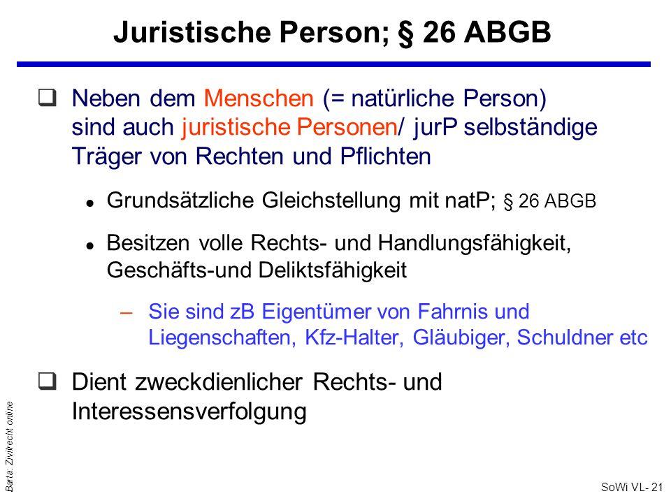 SoWi VL- 21 Barta: Zivilrecht online Juristische Person; § 26 ABGB qNeben dem Menschen (= natürliche Person) sind auch juristische Personen/ jurP selb