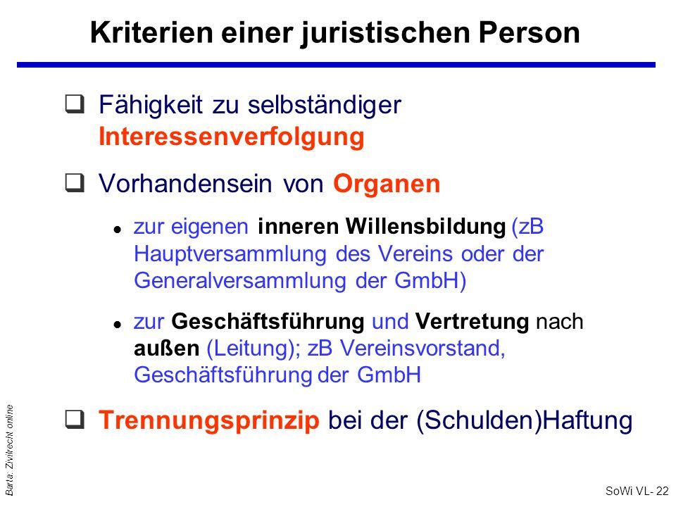 SoWi VL- 22 Barta: Zivilrecht online Kriterien einer juristischen Person qFähigkeit zu selbständiger Interessenverfolgung qVorhandensein von Organen l
