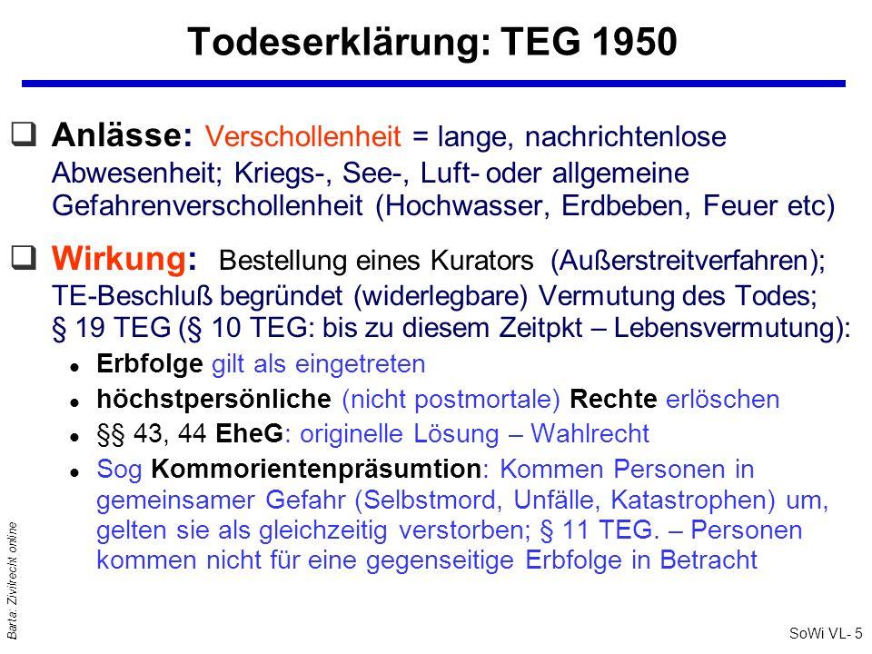 SoWi VL- 5 Barta: Zivilrecht online Todeserklärung: TEG 1950 qAnlässe: Verschollenheit = lange, nachrichtenlose Abwesenheit; Kriegs-, See-, Luft- oder
