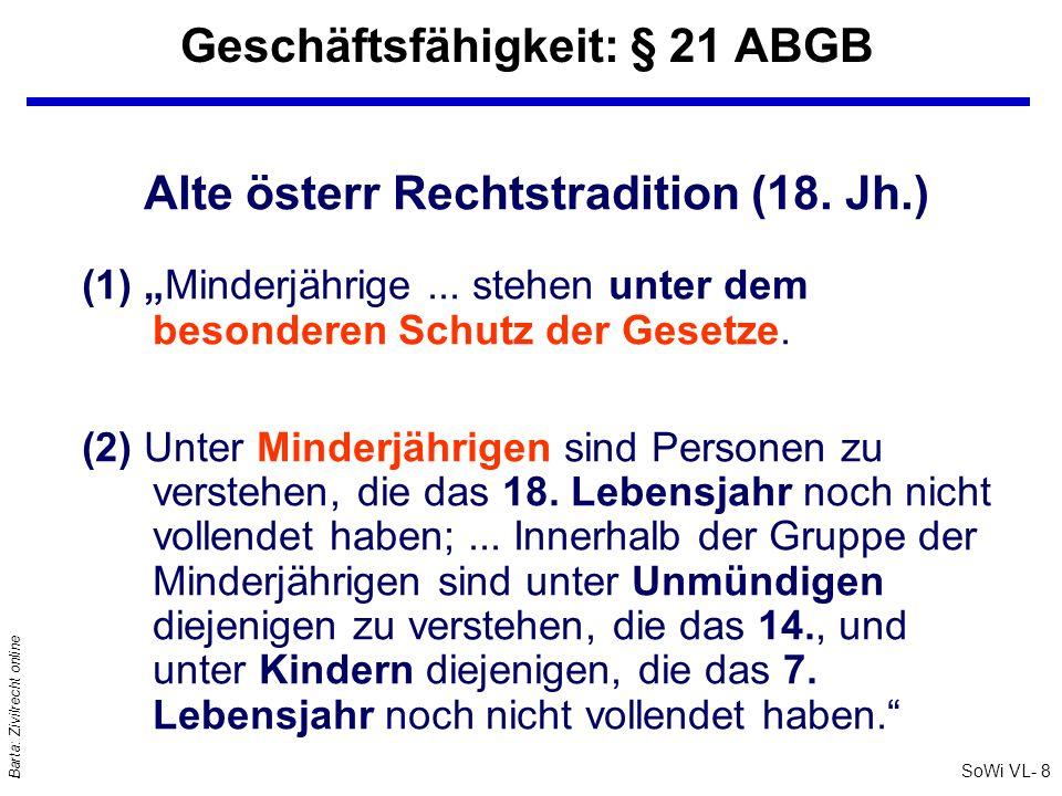 SoWi VL- 8 Barta: Zivilrecht online Geschäftsfähigkeit: § 21 ABGB Alte österr Rechtstradition (18. Jh.) (1) Minderjährige... stehen unter dem besonder