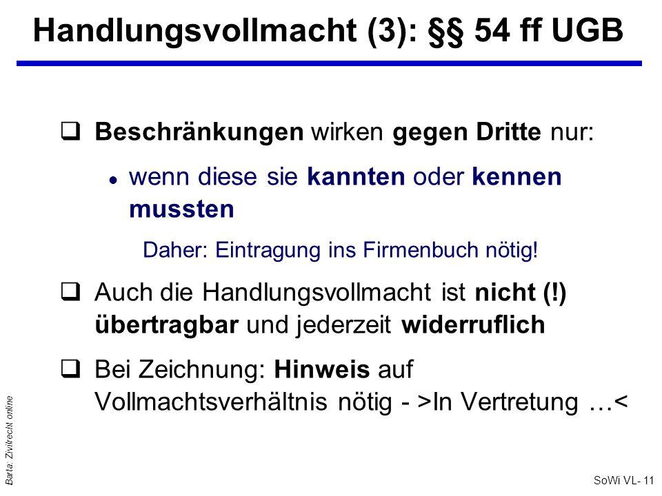 SoWi VL- 11 Barta: Zivilrecht online Handlungsvollmacht (3): §§ 54 ff UGB qBeschränkungen wirken gegen Dritte nur: l wenn diese sie kannten oder kenne