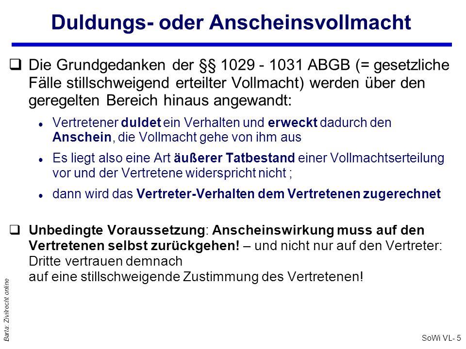 SoWi VL- 6 Barta: Zivilrecht online Prokura (1): §§ 48 ff UGB q… ist die handelsrechtliche Generalvollmacht qInhalt: Ermächtigt zu allen Arten von gerichtlichen und außergerichtlichen Geschäften und Rechtshandlungen, die der Betrieb (irgend!)eines Handelsgewerbes mit sich bringt; § 49 Abs1 UGB l Nicht aber zur Veräußerung und Belastung von Grundstücken; § 49 Abs 2 UGB.