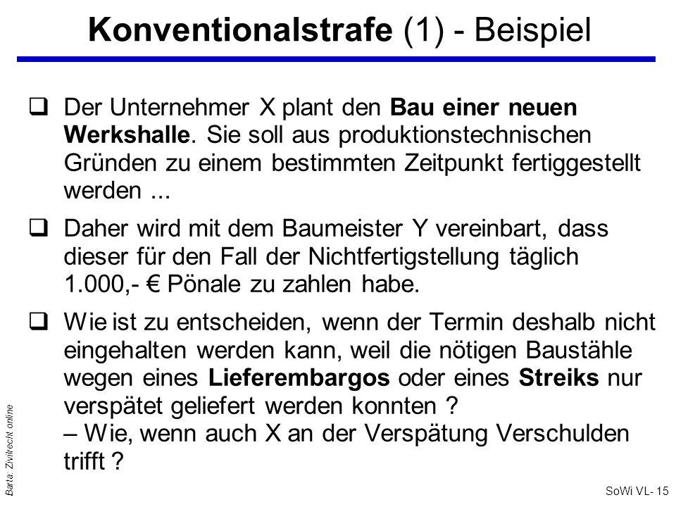 SoWi VL- 15 Barta: Zivilrecht online Konventionalstrafe (1) - Beispiel qDer Unternehmer X plant den Bau einer neuen Werkshalle. Sie soll aus produktio