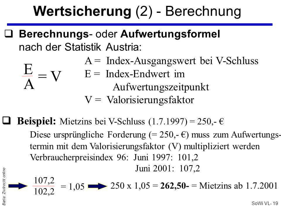 SoWi VL- 19 Barta: Zivilrecht online Wertsicherung (2) - Berechnung qBerechnungs- oder Aufwertungsformel nach der Statistik Austria: EAEA = V A = Inde