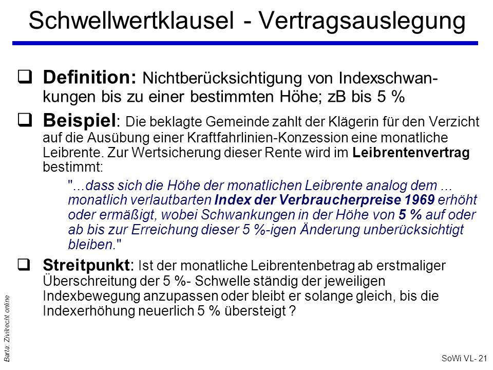SoWi VL- 21 Barta: Zivilrecht online Schwellwertklausel - Vertragsauslegung qDefinition: Nichtberücksichtigung von Indexschwan- kungen bis zu einer be