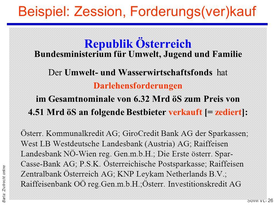 SoWi VL- 26 Barta: Zivilrecht online Beispiel: Zession, Forderungs(ver)kauf Republik Österreich Bundesministerium für Umwelt, Jugend und Familie Der U