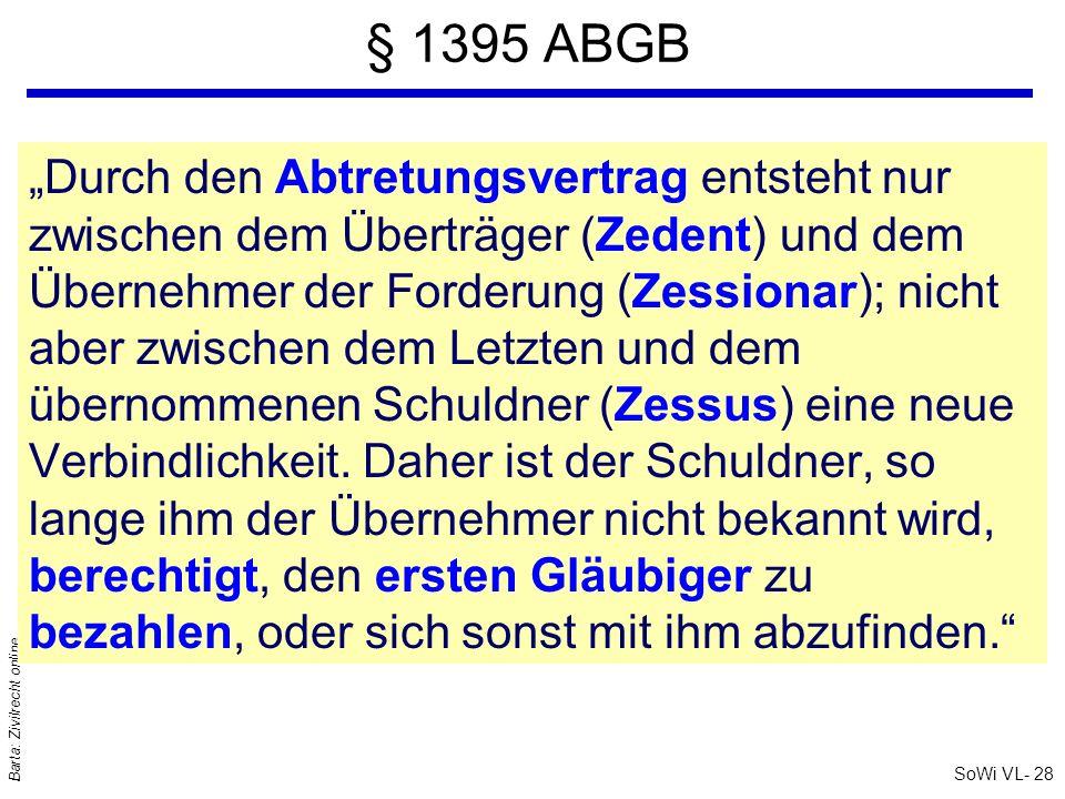 SoWi VL- 28 Barta: Zivilrecht online § 1395 ABGB Durch den Abtretungsvertrag entsteht nur zwischen dem Überträger (Zedent) und dem Übernehmer der Ford