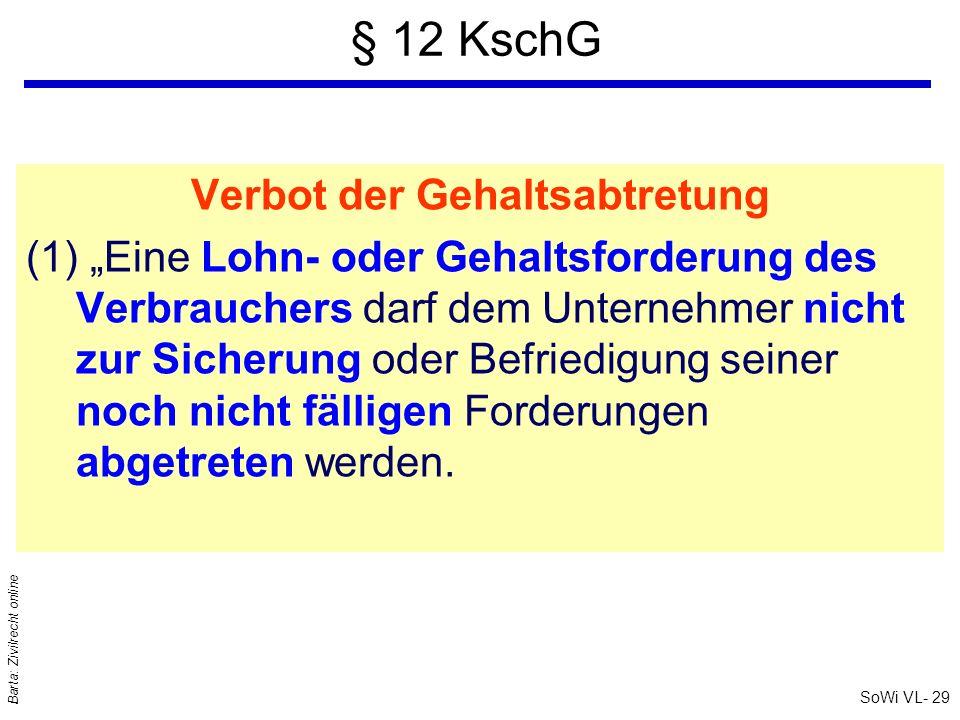 SoWi VL- 29 Barta: Zivilrecht online § 12 KschG Verbot der Gehaltsabtretung (1) Eine Lohn- oder Gehaltsforderung des Verbrauchers darf dem Unternehmer