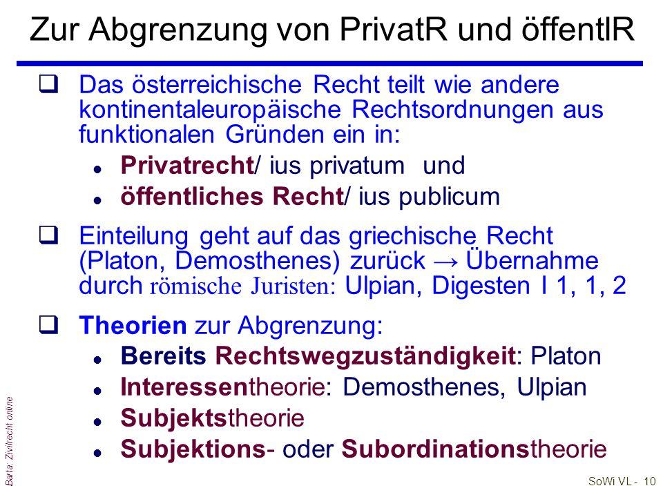 SoWi VL - 10 Barta: Zivilrecht online Zur Abgrenzung von PrivatR und öffentlR qDas österreichische Recht teilt wie andere kontinentaleuropäische Recht