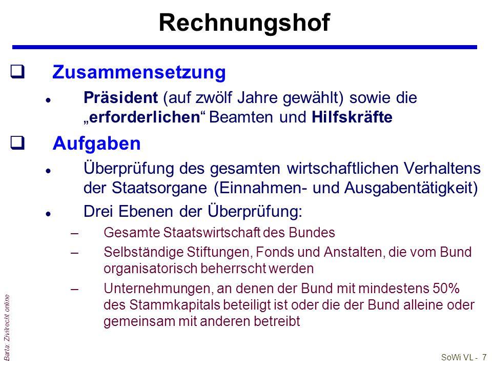 SoWi VL - 7 Barta: Zivilrecht online Rechnungshof qZusammensetzung l Präsident (auf zwölf Jahre gewählt) sowie dieerforderlichen Beamten und Hilfskräf