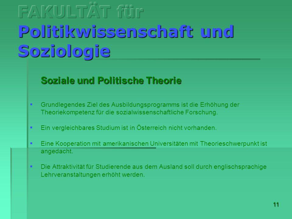 11 Soziale und Politische Theorie Grundlegendes Ziel des Ausbildungsprogramms ist die Erhöhung der Theoriekompetenz für die sozialwissenschaftliche Fo