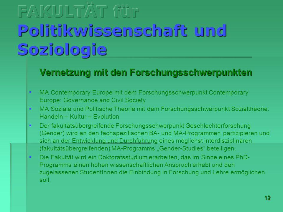 12 Vernetzung mit den Forschungsschwerpunkten MA Contemporary Europe mit dem Forschungsschwerpunkt Contemporary Europe: Governance and Civil Society M