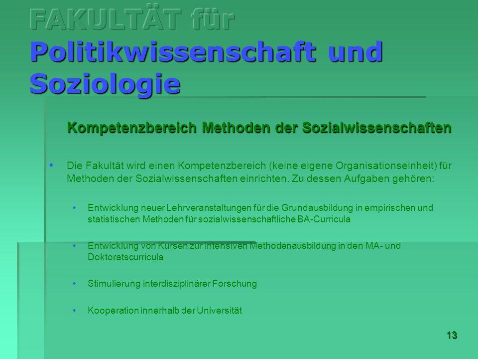 13 Kompetenzbereich Methoden der Sozialwissenschaften Die Fakultät wird einen Kompetenzbereich (keine eigene Organisationseinheit) für Methoden der So