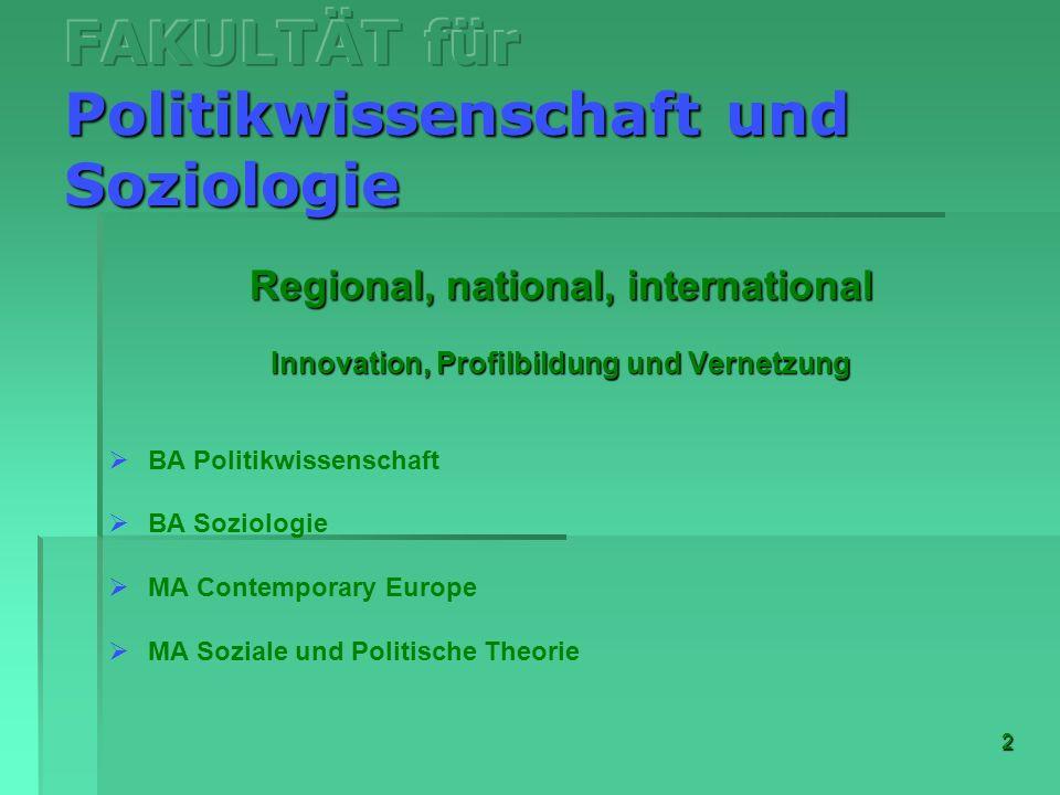 2 Regional, national, international Innovation, Profilbildung und Vernetzung BA Politikwissenschaft BA Soziologie MA Contemporary Europe MA Soziale un