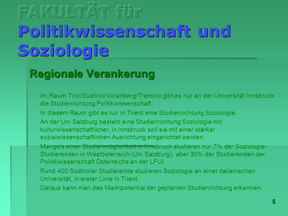 5 Regionale Verankerung Im Raum Tirol/Südtirol/Vorarlberg/Trentino gibt es nur an der Universität Innsbruck die Studienrichtung Politikwissenschaft. I