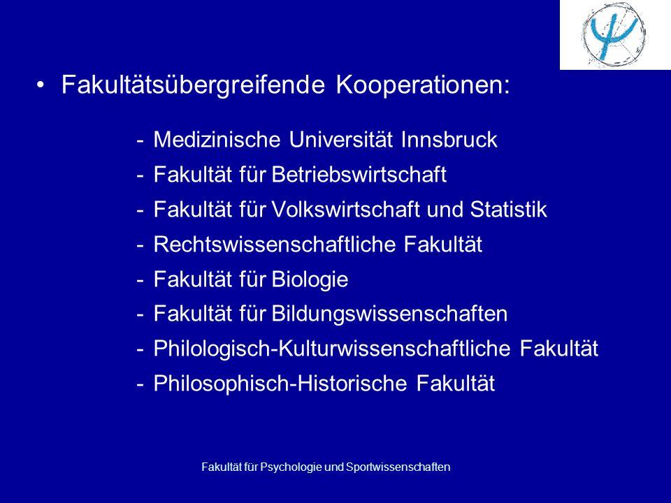 Fakultät für Psychologie und Sportwissenschaften Fakultätsübergreifende Kooperationen: -Medizinische Universität Innsbruck -Fakultät für Betriebswirts