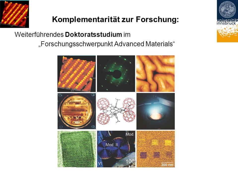 Komplementarität zur Forschung: Weiterführendes Doktoratsstudium im Forschungsschwerpunkt Advanced Materials