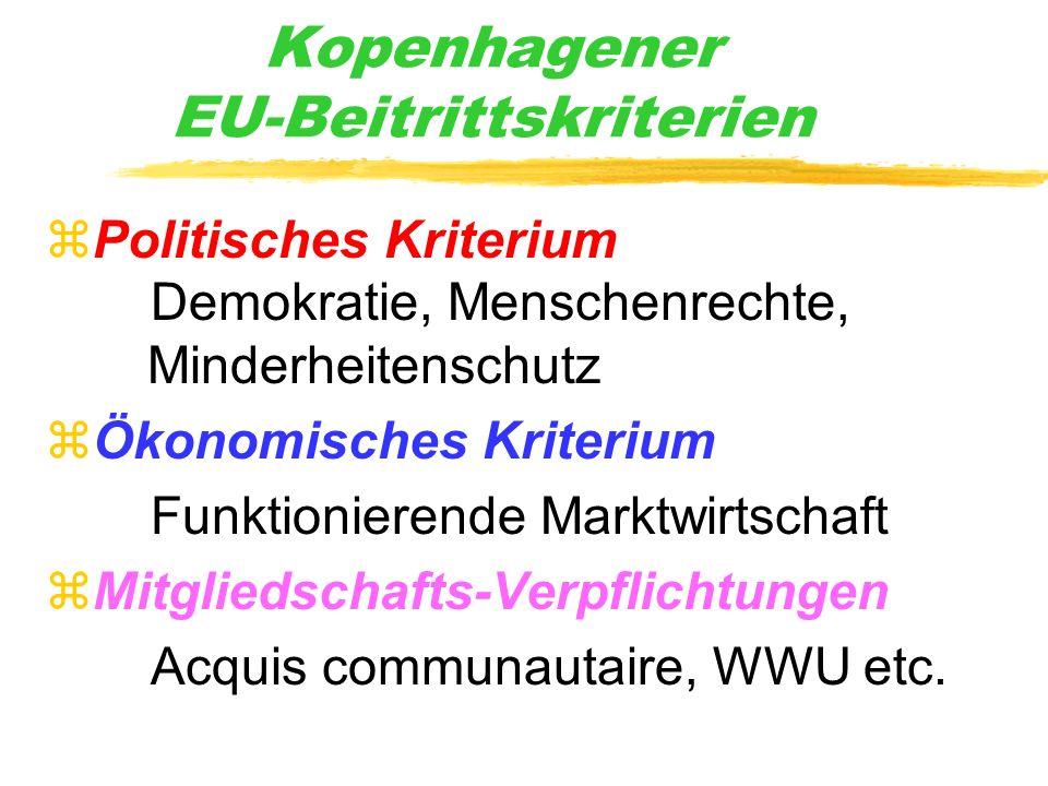 Kopenhagener EU-Beitrittskriterien zPolitisches Kriterium Demokratie, Menschenrechte, Minderheitenschutz zÖkonomisches Kriterium Funktionierende Markt