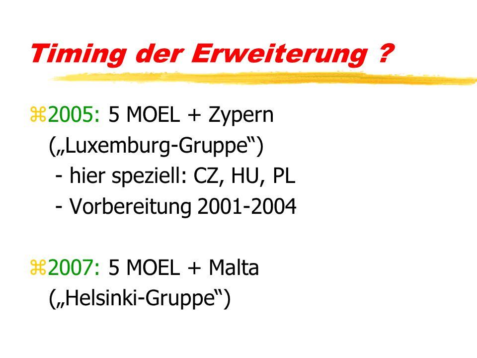 Timing der Erweiterung ? z2005: 5 MOEL + Zypern (Luxemburg-Gruppe) - hier speziell: CZ, HU, PL - Vorbereitung 2001-2004 z2007: 5 MOEL + Malta (Helsink