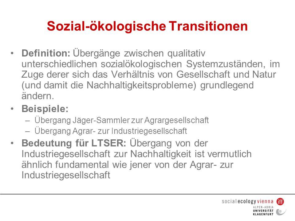 Sozial-ökologische Transitionen Definition: Übergänge zwischen qualitativ unterschiedlichen sozialökologischen Systemzuständen, im Zuge derer sich das
