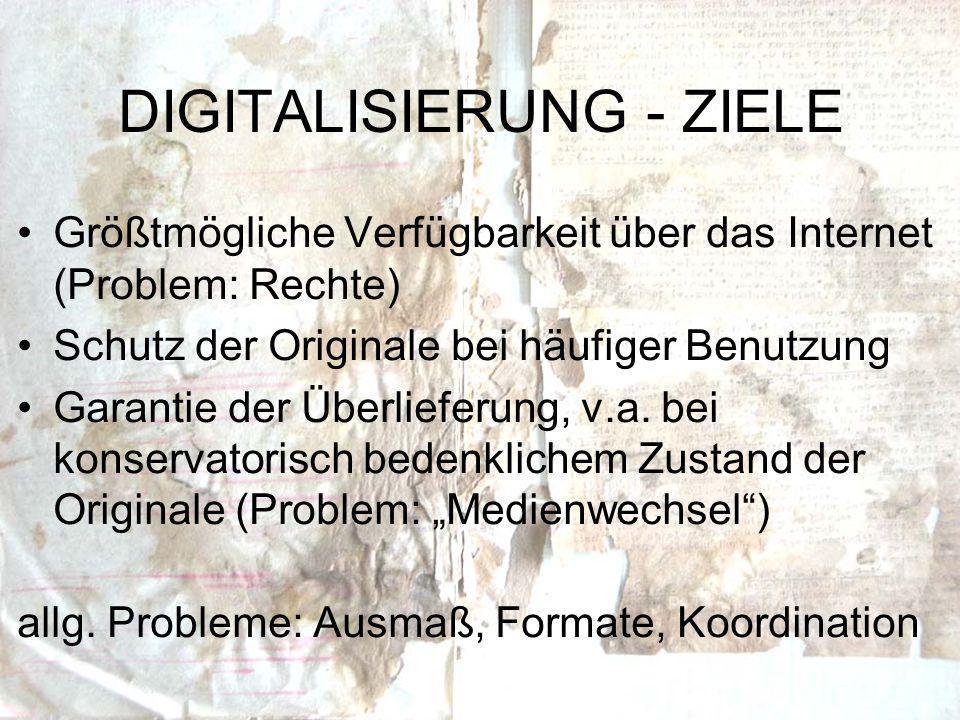 Größtmögliche Verfügbarkeit über das Internet (Problem: Rechte) Schutz der Originale bei häufiger Benutzung Garantie der Überlieferung, v.a.