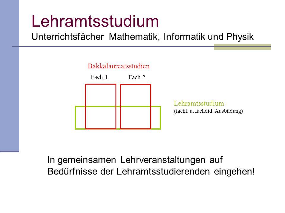 Lehramtsstudium Unterrichtsfächer Mathematik, Informatik und Physik In gemeinsamen Lehrveranstaltungen auf Bedürfnisse der Lehramtsstudierenden eingehen.