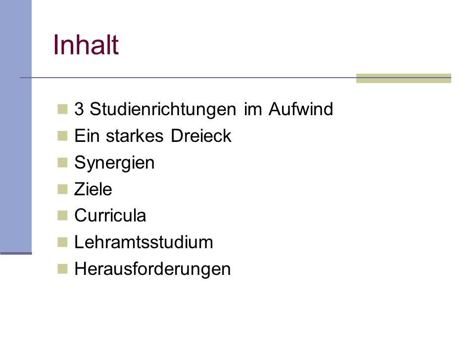 Inhalt 3 Studienrichtungen im Aufwind Ein starkes Dreieck Synergien Ziele Curricula Lehramtsstudium Herausforderungen