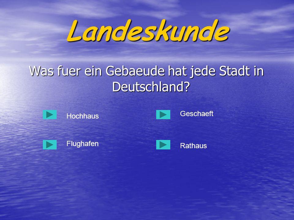 Was fuer ein Gebaeude hat jede Stadt in Deutschland? Was fuer ein Gebaeude hat jede Stadt in Deutschland? Hochhaus Flughafen Rathaus Geschaeft Landesk