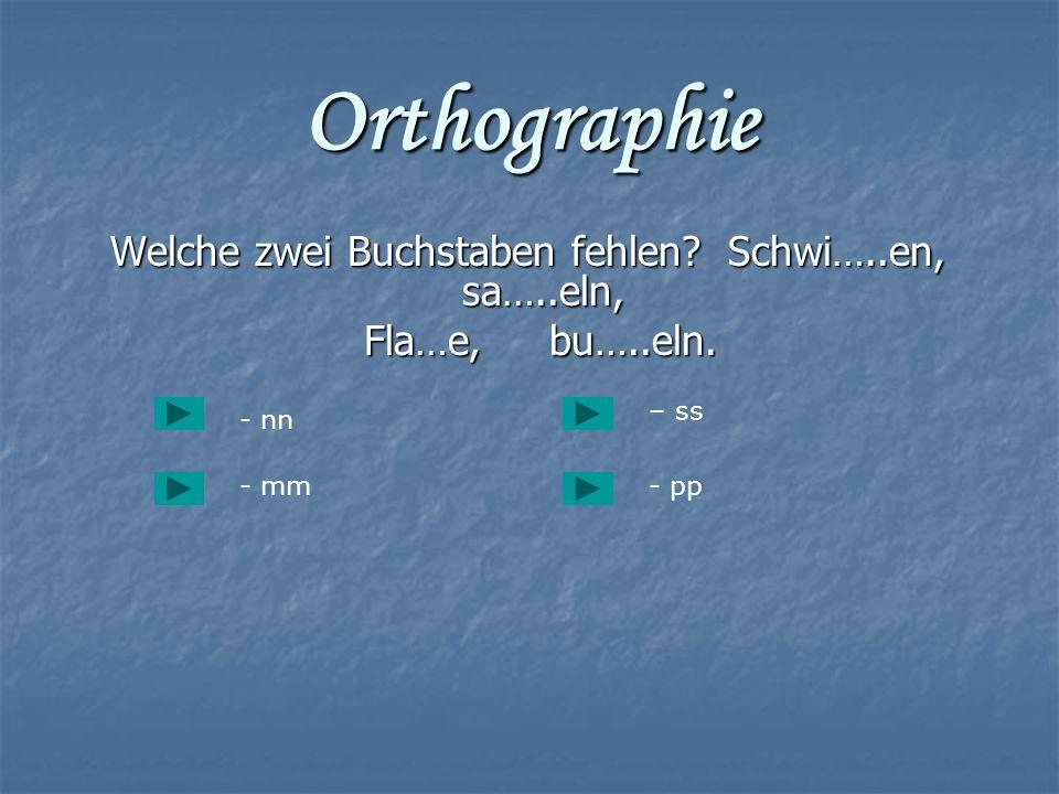 Orthographie Welche zwei Buchstaben fehlen? Schwi…..en, sa…..eln, Welche zwei Buchstaben fehlen? Schwi…..en, sa…..eln, Fla…e, bu…..eln. Fla…e, bu…..el