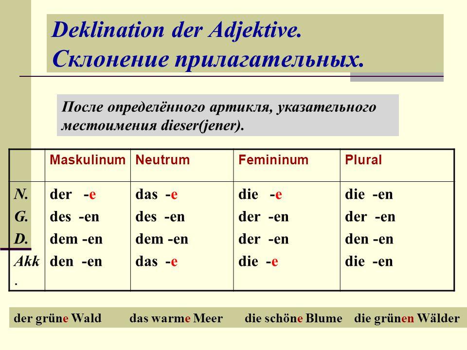 Deklination der Adjektive.Склонение прилагательных.