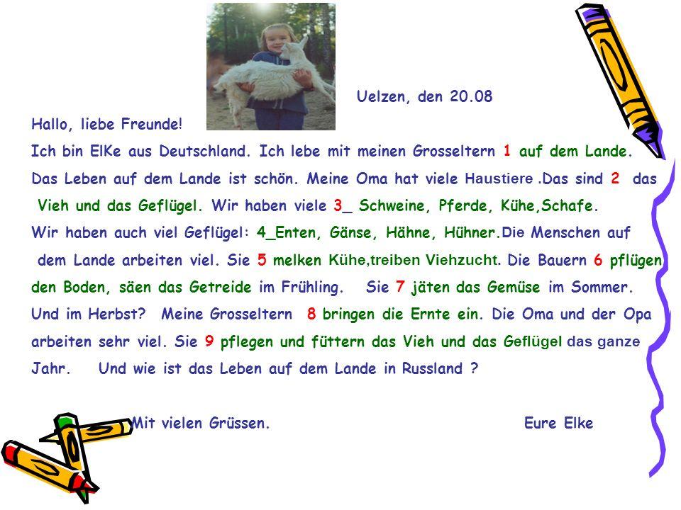 Uelzen, den 20.08 Hallo, liebe Freunde! Ich bin ElKe aus Deutschland. Ich lebe mit meinen Grosseltern 1 auf dem Lande. Das Leben auf dem Lande ist sch