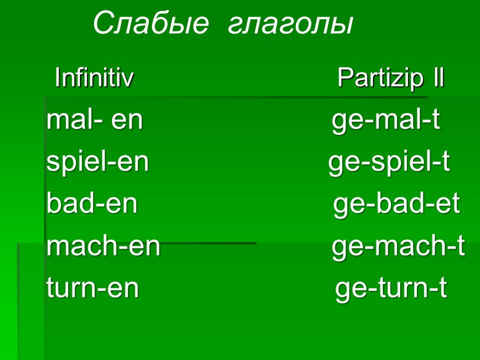 Infinitiv Partizip ll Infinitiv Partizip ll mal- en ge-mal-t mal- en ge-mal-t spiel-en ge-spiel-t spiel-en ge-spiel-t bad-en ge-bad-et bad-en ge-bad-e