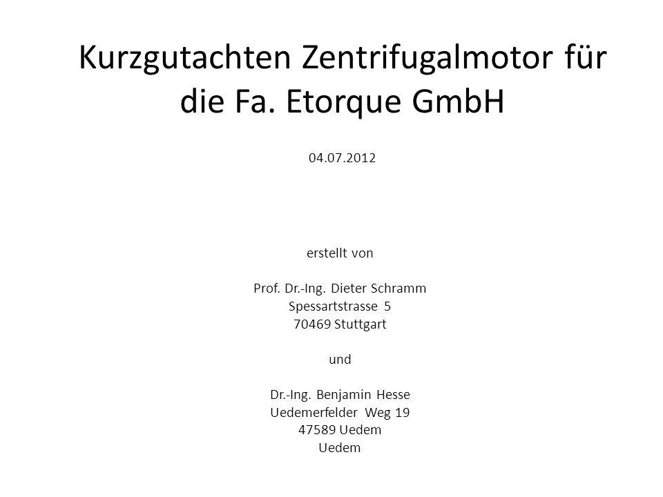 Analyse der Funktion und Begutachtung eines Zentrifugalmotors 1.Beispielhafte Modellierung des Antriebsprinzips und Funktionsnachweis unter verschiedenen relevanten Bedingungen s.