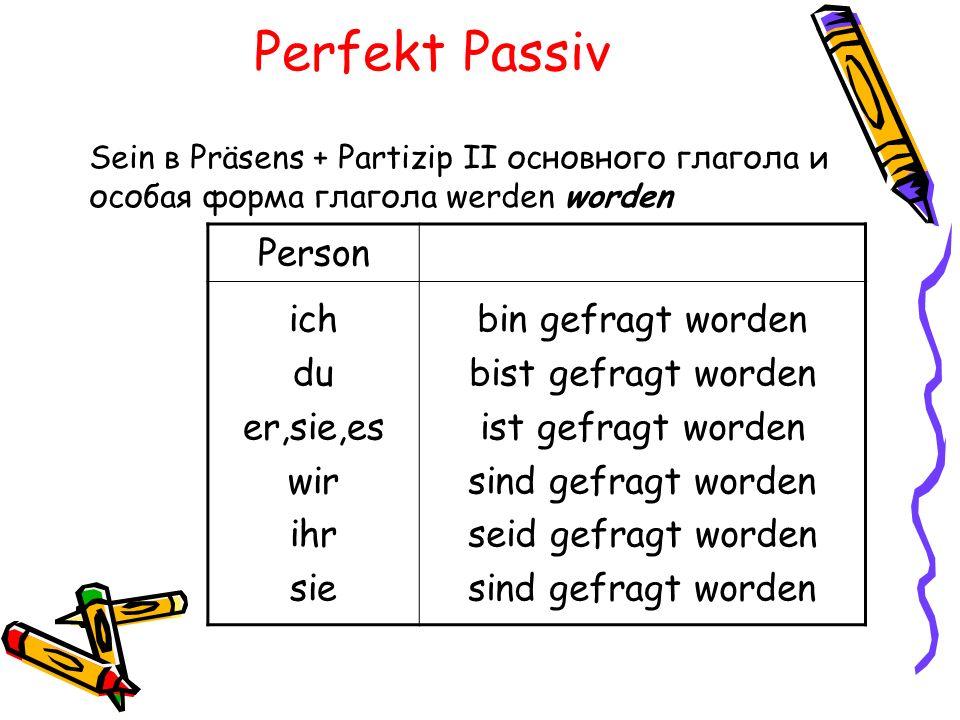 Perfekt Passiv Sein в Präsens + Partizip II основного глагола и особая форма глагола werden worden Person ich du er,sie,es wir ihr sie bin gefragt wor