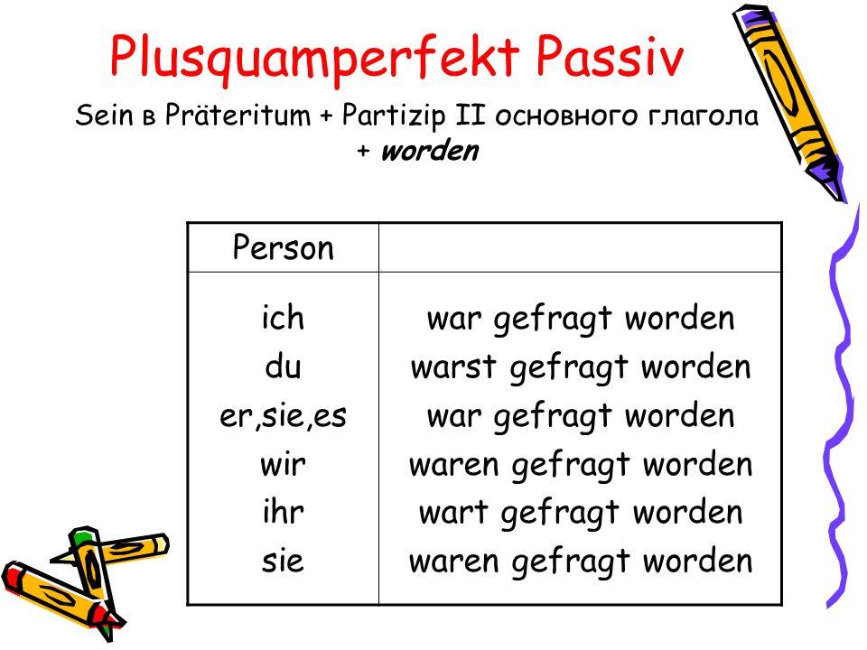 Plusquamperfekt Passiv Sein в Präteritum + Partizip II основного глагола + worden Person ich du er,sie,es wir ihr sie war gefragt worden warst gefragt