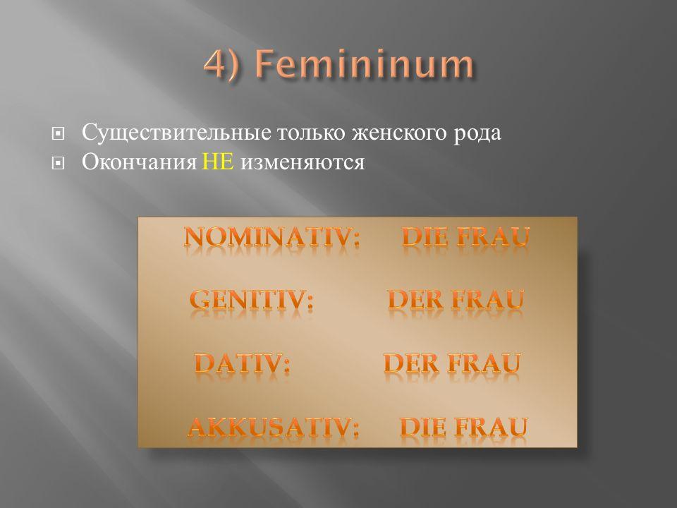 Существительные только женского рода Окончания НЕ изменяются