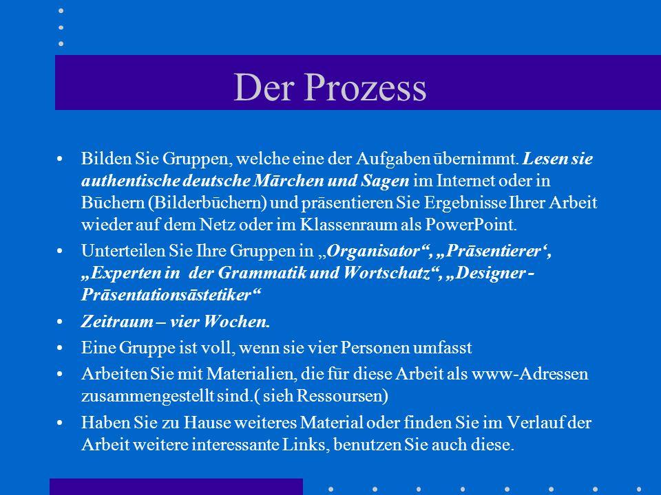 Der Prozess Bilden Sie Gruppen, welche eine der Aufgaben ūbernimmt. Lesen sie authentische deutsche Mārchen und Sagen im Internet oder in Būchern (Bil