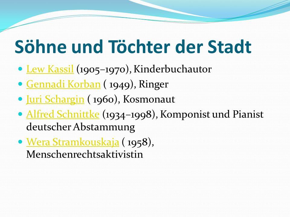Söhne und Töchter der Stadt Lew Kassil (1905–1970), Kinderbuchautor Lew Kassil Gennadi Korban ( 1949), Ringer Gennadi Korban Juri Schargin ( 1960), Ko