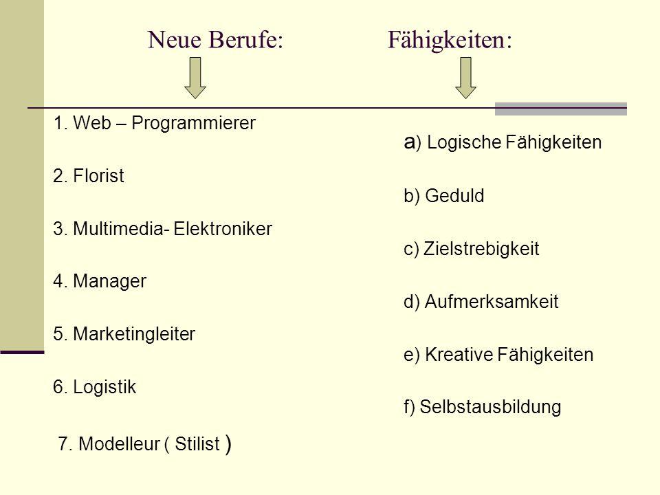 Neue Berufe: Fähigkeiten: 1. Web – Programmierer 2. Florist 3. Multimedia- Elektroniker 4. Manager 5. Marketingleiter 6. Logistik 7. Modelleur ( Stili