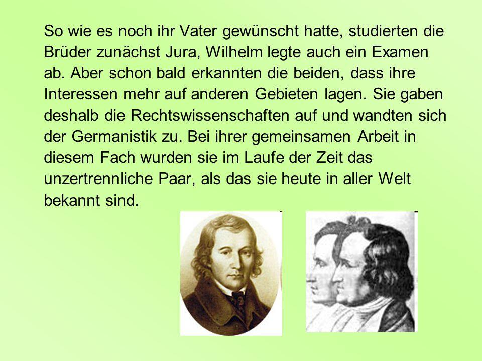 So wie es noch ihr Vater gewünscht hatte, studierten die Brüder zunächst Jura, Wilhelm legte auch ein Examen ab. Aber schon bald erkannten die beiden,