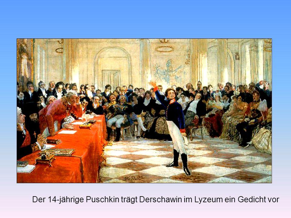 Der 14-jährige Puschkin trägt Derschawin im Lyzeum ein Gedicht vor