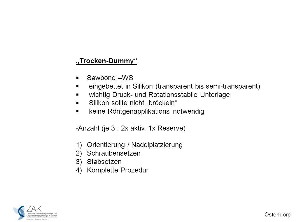 Ostendorp Trocken-Dummy Sawbone –WS eingebettet in Silikon (transparent bis semi-transparent) wichtig Druck- und Rotationsstabile Unterlage Silikon sollte nicht bröckeln keine Röntgenapplikations notwendig -Anzahl (je 3 : 2x aktiv, 1x Reserve) 1)Orientierung / Nadelplatzierung 2)Schraubensetzen 3)Stabsetzen 4)Komplette Prozedur