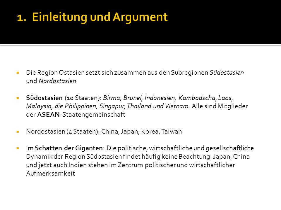 Die Region Ostasien setzt sich zusammen aus den Subregionen Südostasien und Nordostasien Südostasien (10 Staaten): Birma, Brunei, Indonesien, Kambodsc