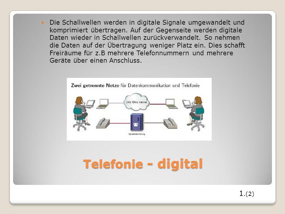 Telefonie - digital Die Schallwellen werden in digitale Signale umgewandelt und komprimiert übertragen. Auf der Gegenseite werden digitale Daten wiede