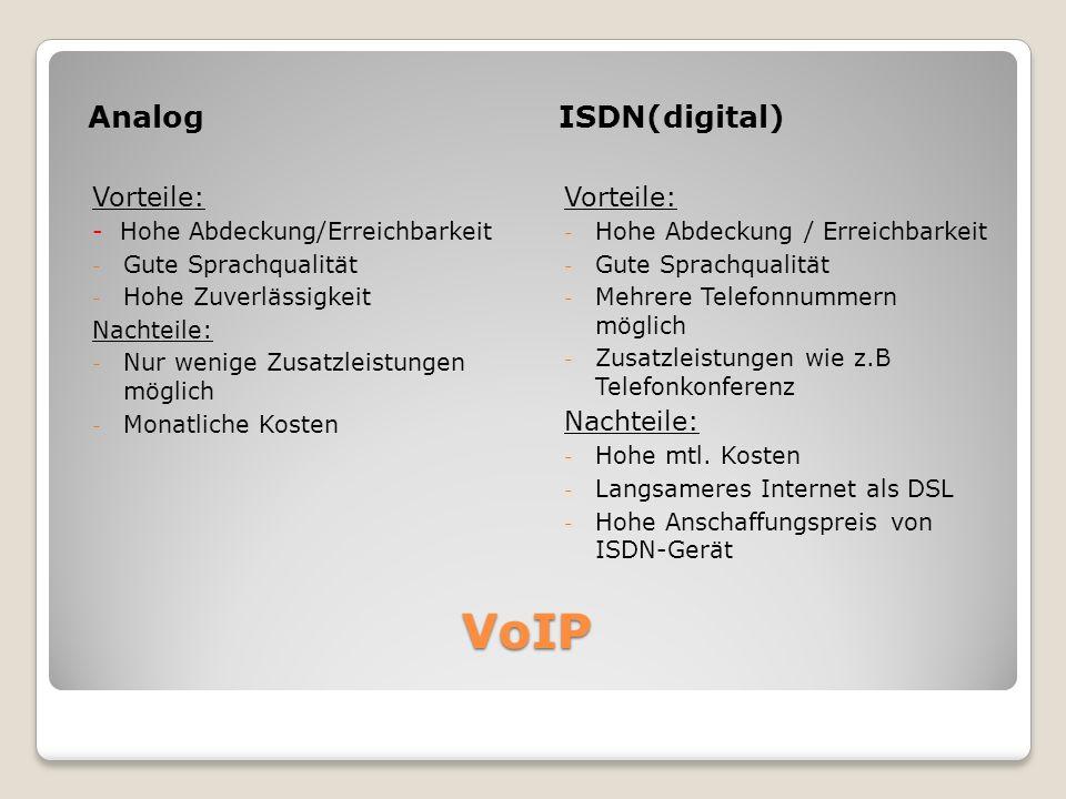 VoIP AnalogISDN(digital) Vorteile: - Hohe Abdeckung/Erreichbarkeit - Gute Sprachqualität - Hohe Zuverlässigkeit Nachteile: - Nur wenige Zusatzleistung