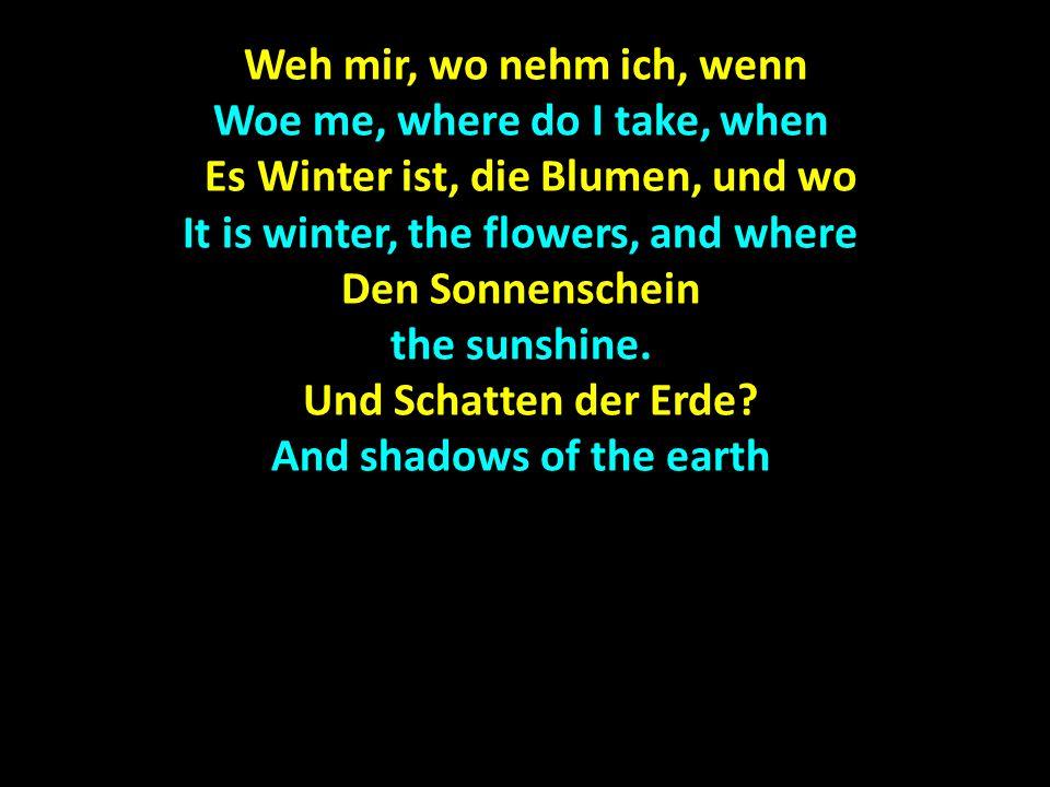 Die Mauern stehen Die Mauern stehen The walls stand Sprachlos und kalt, im Winde Sprachlos und kalt, im Winde Speachless and cold, in the wind Klirren die Fahnen.