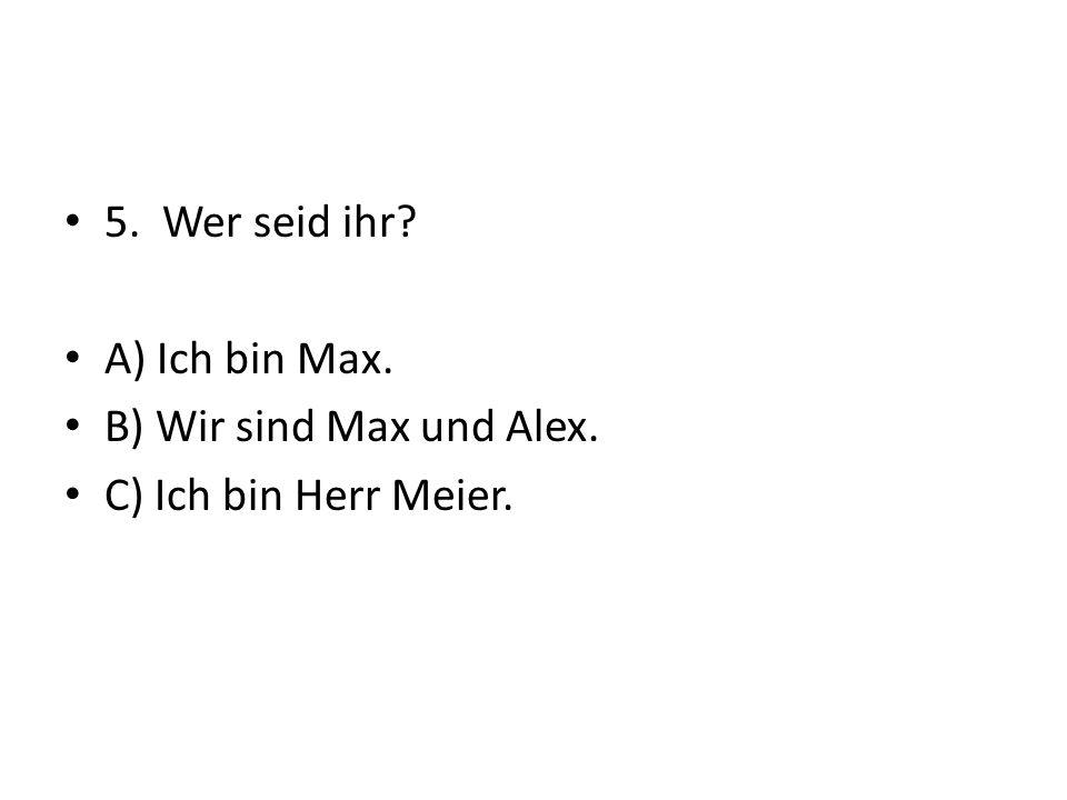 5. Wer seid ihr? A) Ich bin Max. B) Wir sind Max und Alex. C) Ich bin Herr Meier.