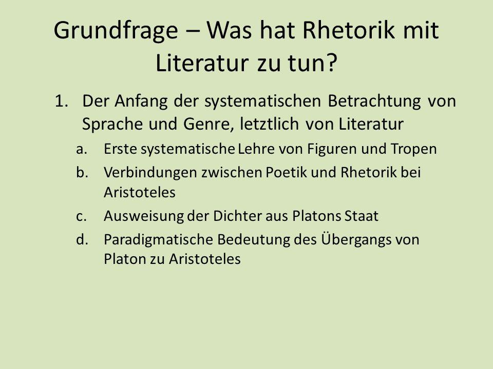 Grundfrage – Was hat Rhetorik mit Literatur zu tun? 1.Der Anfang der systematischen Betrachtung von Sprache und Genre, letztlich von Literatur a.Erste