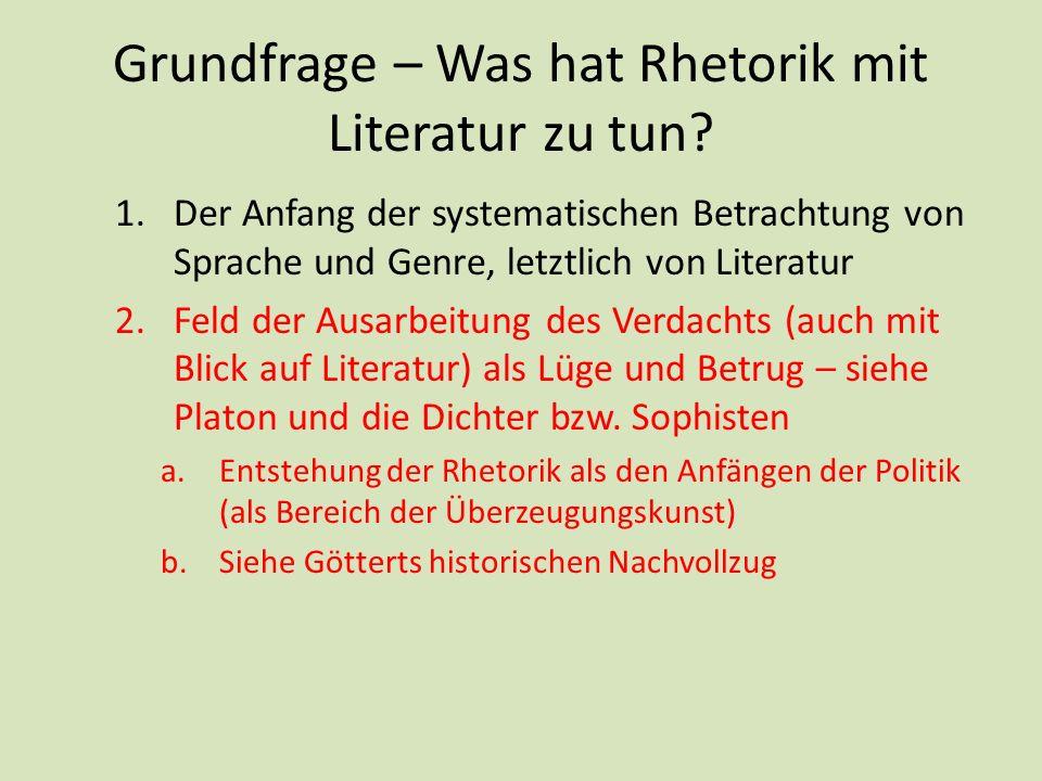 Grundfrage – Was hat Rhetorik mit Literatur zu tun? 1.Der Anfang der systematischen Betrachtung von Sprache und Genre, letztlich von Literatur 2.Feld